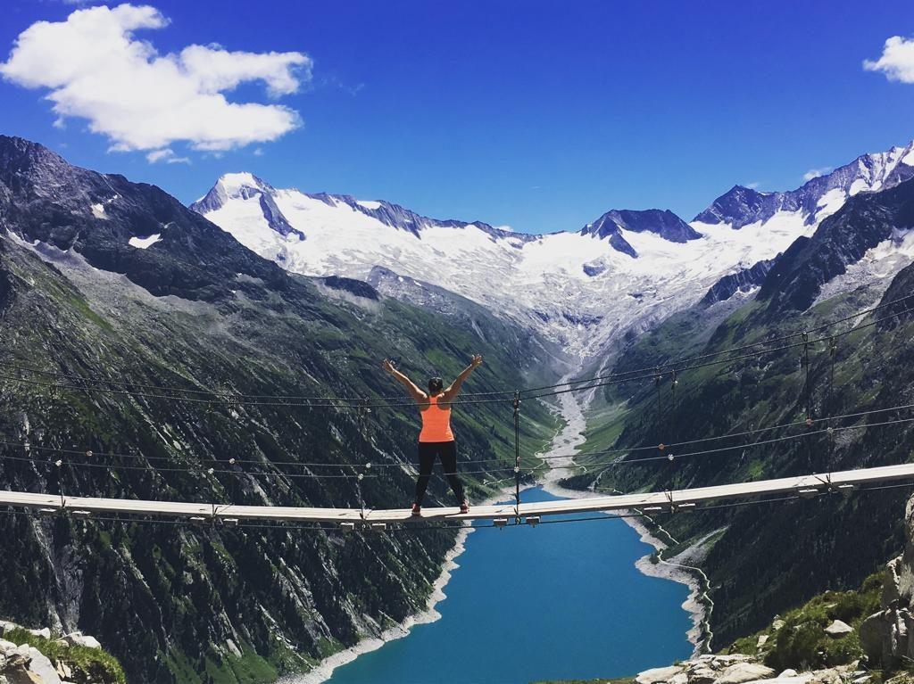 Schlegeis Stausee - Blick von der Olperer Hütte - bekannte Brücke